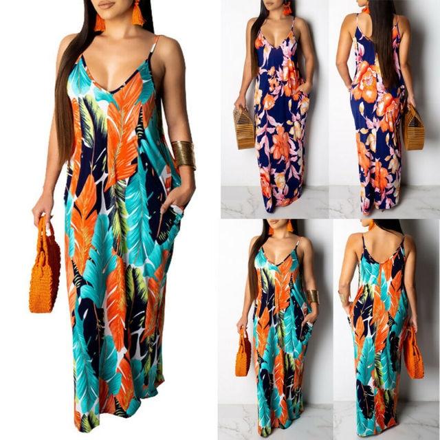 2019 Newest Hot Women's Summer Boho Floral Long Maxi Evening Party Beach Dress Floral Sleeveless V Neck Sundress 3