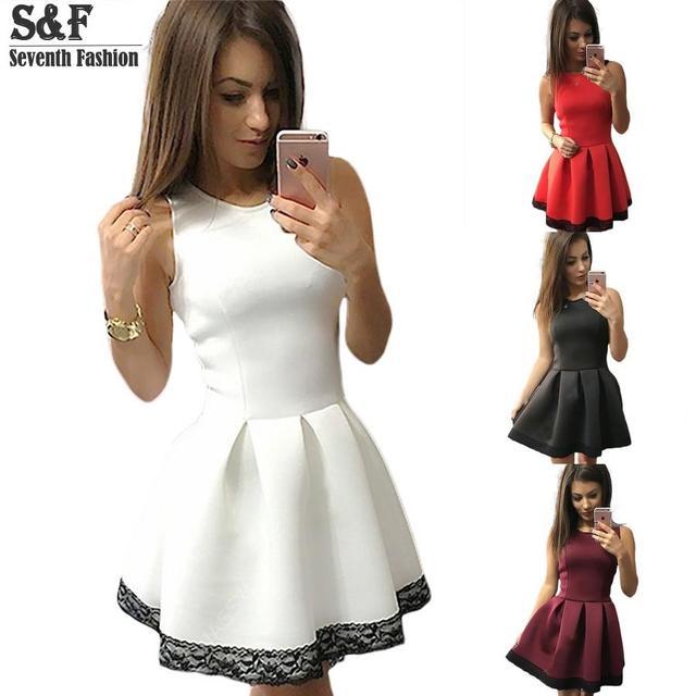 Vestido de Verano 2016 mujeres Oficina Del Club Atractivo Del Partido Del Cordón de la Playa Crochet Vintage Ladies Short Mujer Vestidos Vestido Más Tamaño Rojo blanco