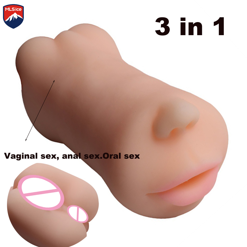 MLSice 3 in 1 Mouth Male Masturbator Artificial Vaginal Pussy Anal Anus Oral Sex BlowJob Pocket Sex Adult Products Toys for Men new male vibrating mouth vaginal masturbator sex toy 360327