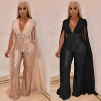 V Neck Sleeveless Trench Patchwork Women Sequin Patchwork High Fashion Club Jumpsuits Women Bodysuits