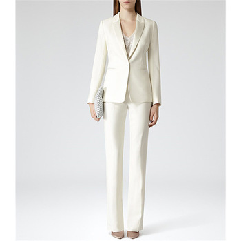 Custom Ivory Womens Business Work Suits Formal Evening 2 Piece Pant Suits Female Office Uniform One Button Ladies Trouser Suits
