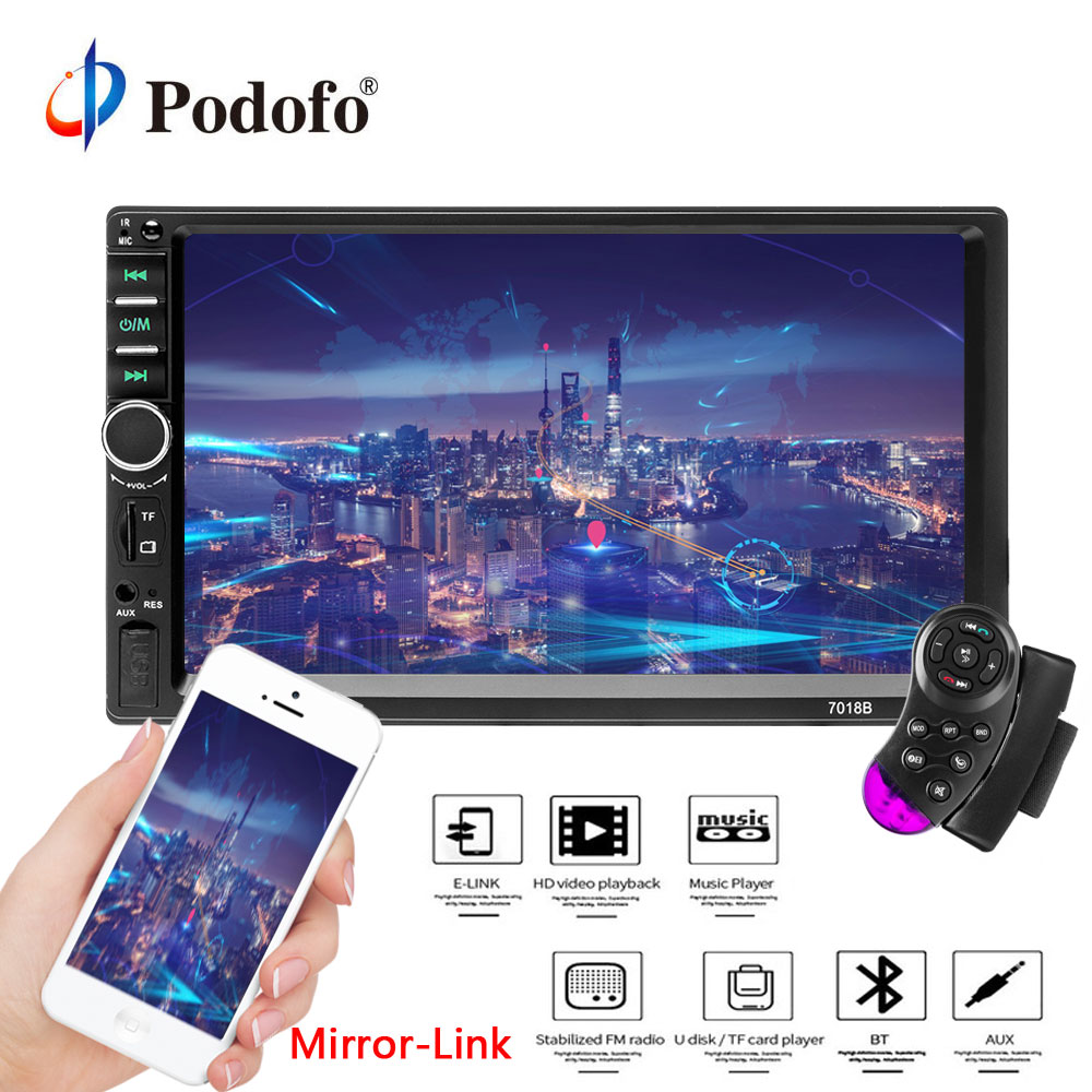 Podofo Car Radio Autoradio 7 2 Din Touch Screen Multimedia Player Bluetooth Mirror Link Rear View