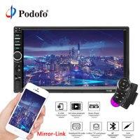 Podofo Car Radio Autoradio 7 2 Din LCD Touch Screen Multimedia Player Bluetooth Support Mirror Link Rear View Camera 7018B FM