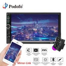 Podofo Авторадио автомобильный радиоприемник 7 «2 DIN ЖК-дисплей Сенсорный экран мультимедийный плеер Поддержка Bluetooth зеркало-link заднего вида Камера 7018B FM