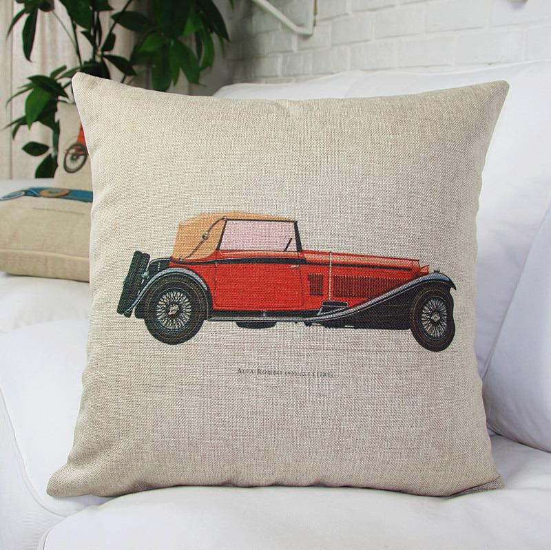 Vintage Classical Car Pillow Covers Cotton Linen Pillow Covers Plain