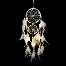 inheritors  Indian two rings white feather dream catcher hanging bells birthday gift creative