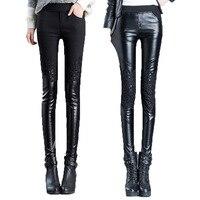 2016 Inverno Caldo Faux Leather Leggings Donna Sexy A Vita Alta PU Elastico Pantaloni Casual Ricamo Skinny Pantaloni Slip Nero