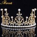 Tiara De La Boda Joyería de Perlas para Las Mujeres de Calidad superior Chapado En Oro Nupcial Pelo de la Corona Rhinestone Corona de la Reina Celada MUCHACHA HG080
