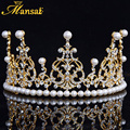 Top Quality Wedding Tiara Pearl Jewelry for Women Gold Plated Bridal Crown Hair Jewelry Rhinestone Queen Crown Headpiece HG080