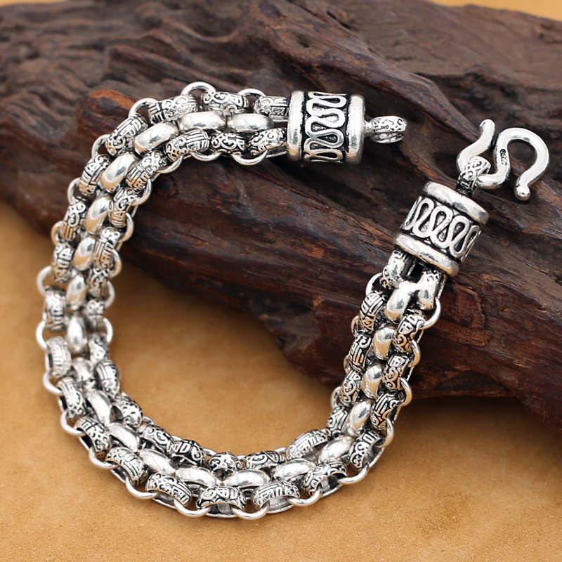 Handmade 925 Silver Chain Bracelet Vintage Sterling Silver Man Bracelet Punk Jewelry Lucky Bracelet Real Silver Jewelry Gift цена 2017