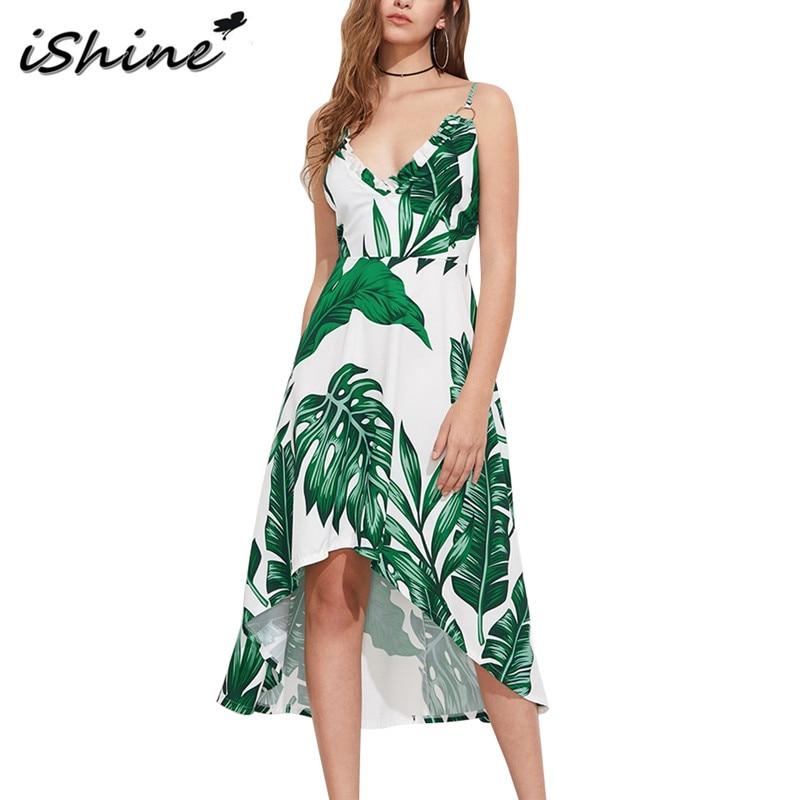 IShine 2017 Estate Foglia di Palma Spiaggia Stampa Donne del Vestito Verde  con scollo a V backless della cinghia di spaghetti irregolare maxi long  dress ... bc3b6eb3fa31