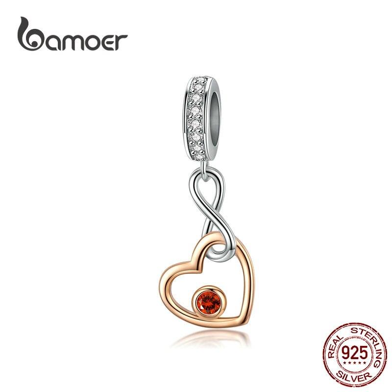 925 prata esterlina intertravamento amor rosa cor de ouro coração infinito amor pingente & charme apto cobra original pulseira scc1239