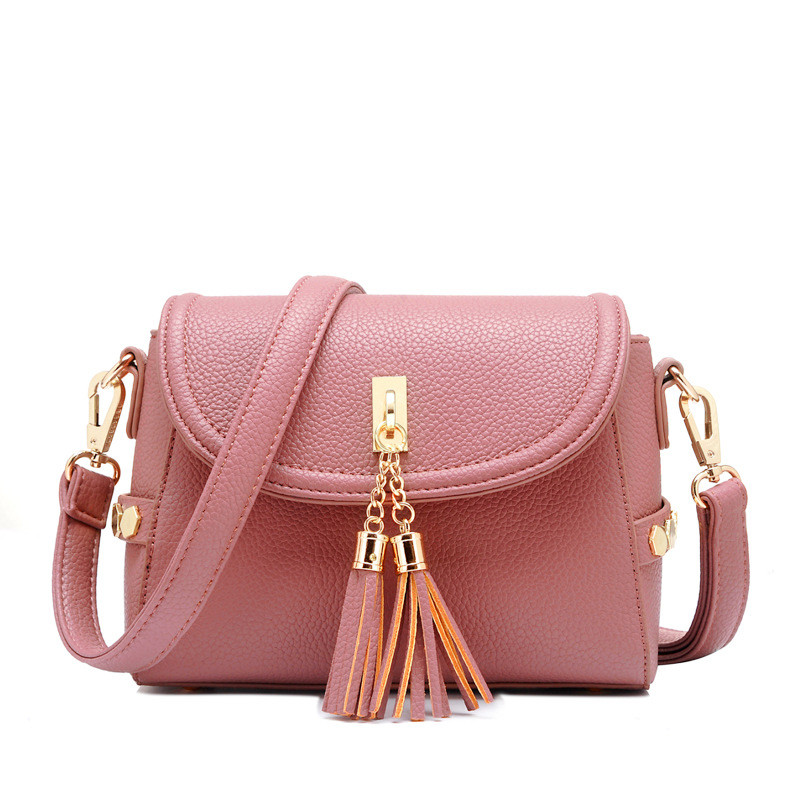 Bolsa De Especias Pequeña : Women handbags solid pink cover tassel rivet shoulder