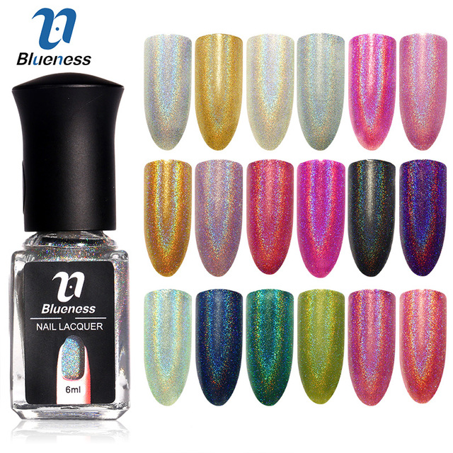 Blueness 6ml/Bottle Diamond Laser Glitter Nail Paint Polish ...
