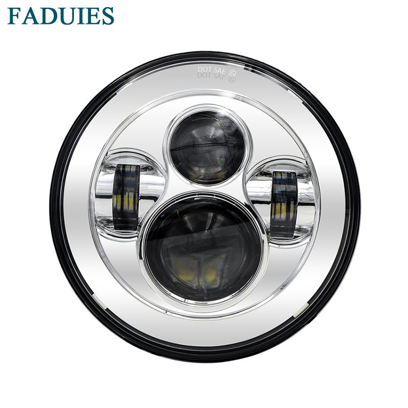 FADUIES Free shipping 7 Inch Chrome LED Projector Daymaker Hi/Lo Beam Headlight for Harley Davidson Motorcycle 7 led headlamp цена