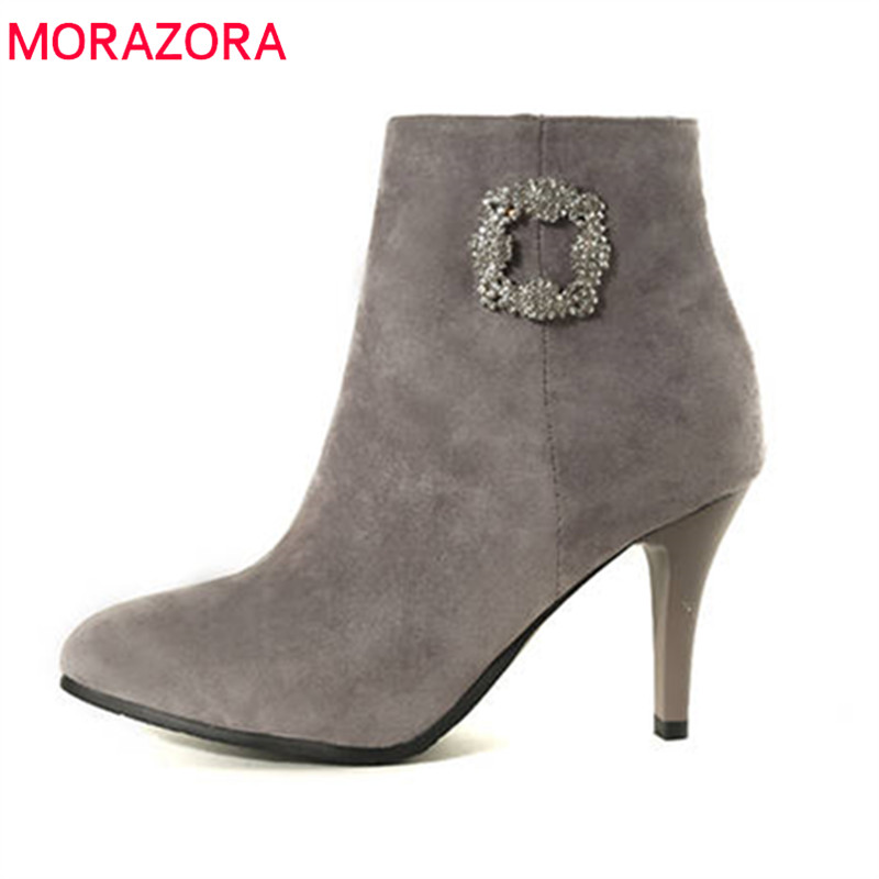 MORAZORA 2018 new arrival boots women pointed toe simple zipper fashion party wedding shoes solid color high heels ankle boots цена и фото
