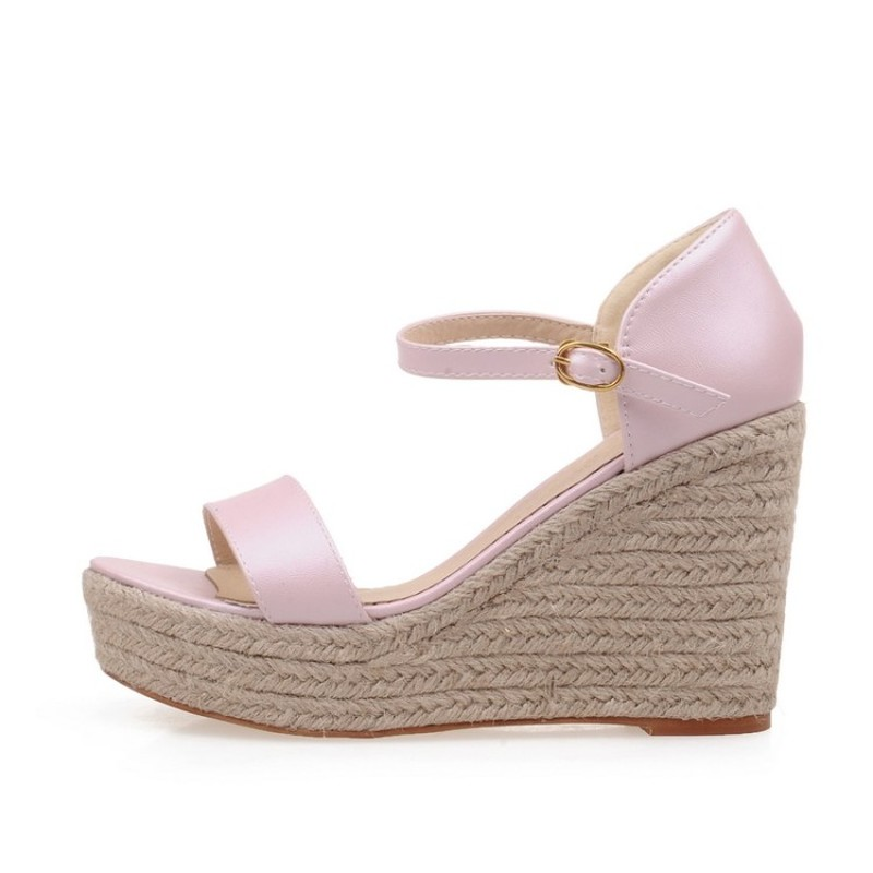 Womens Solid Elevated Wedge Espadrille Classic Espadrille Wedge Sandals Summer Parties Shoes Wedge Sandals Street Shoes Sz 33 43 in High Heels from Shoes