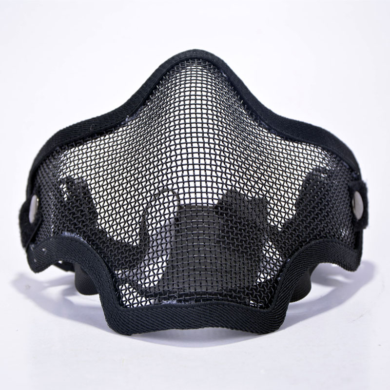 JAISATI Half-face steel wire mask tactics outdoor reality CS equipment riding breathable half face protective mask half face protector breathable elastic cotton mask black