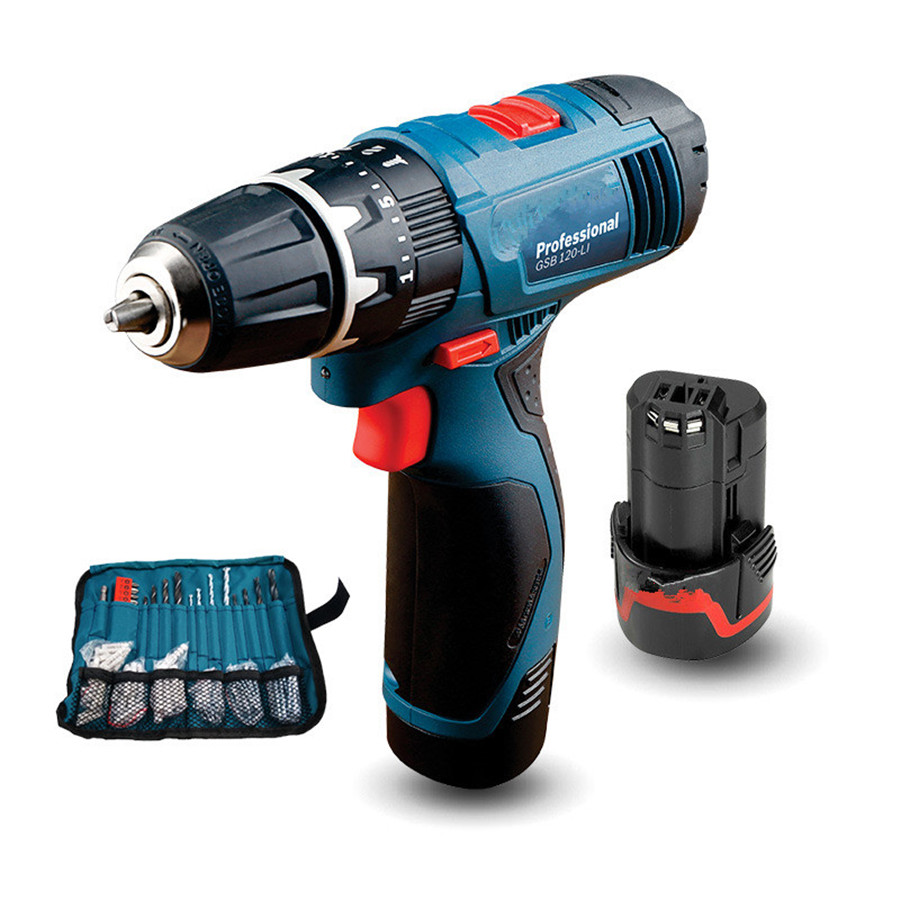 Power tools 12V hand drill lithium battery impact drill household rechargeable electric screwdriver GSB120