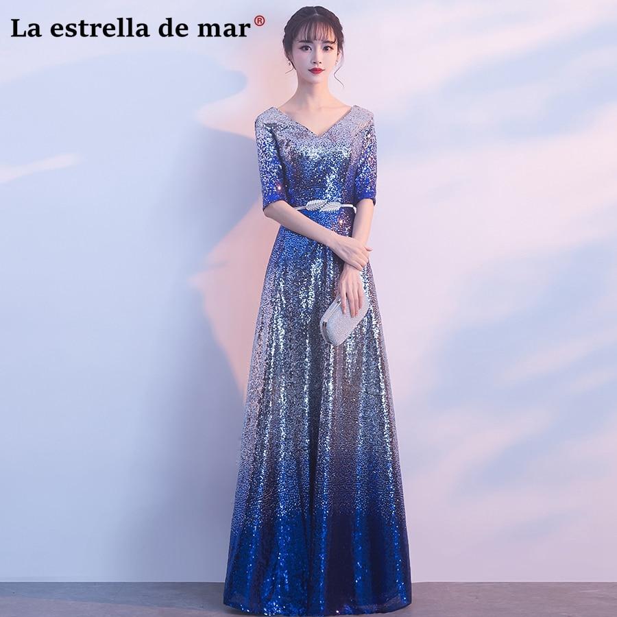 vestidos de madrinha new sequins sexy V neck Half sleeves a Line royal blue   bridesmaid     dresses   long plus size brautjungfernkleid