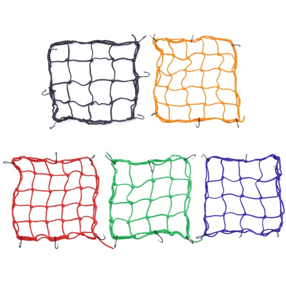 30*30cm Motorcycle Bicycle Cargo Net Helmet Rope Luggage Storage Bag Twine Blue Yellow Red Black Green Motorycle Net Bags Mesh image