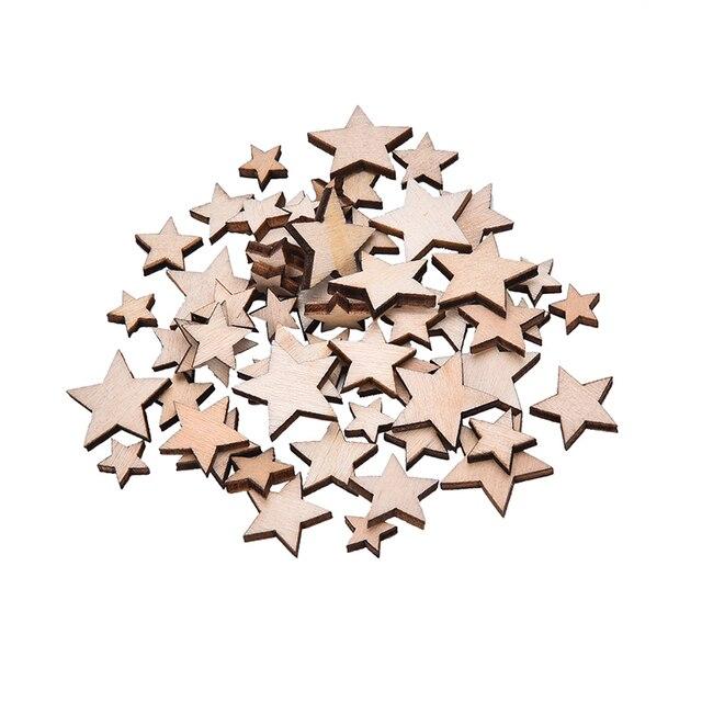 100pcs Mixed Size Natural Wood Star Plain Shabby Chic Craft