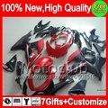 7gifts For SUZUKI GSXR600 Red black 2011 2012 2013 2014 8MC576 GSXR 600 750 11 12 13 14 11-14 Matte black K11 GSX-R750 Fairing