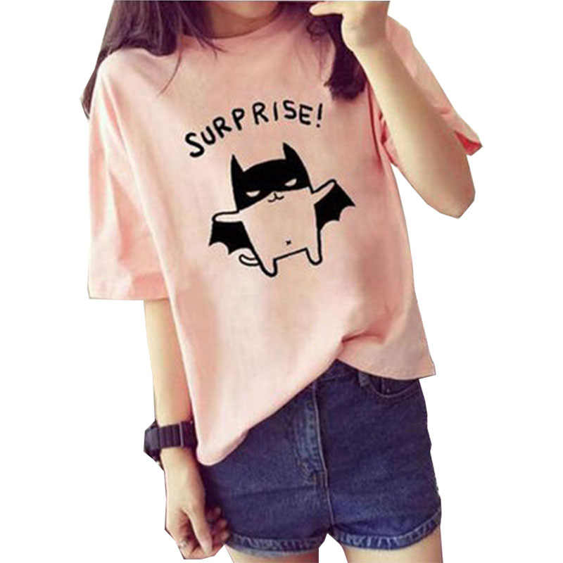 T shirt women 2019 new summer style letter cat animal print short-sleeve women's T-shirt loose cheap clothe tshirt vestidos T031