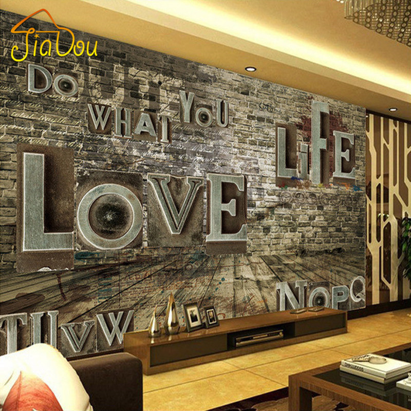 Custom Mural European Retro 3D Stereo Relief Brick Alphabet Wall Paper Personality Bar Restaurant Background Murals Wallpaper free shipping custom 3d stereo car mural ktv bar personality european retro wallpaper murals children wallpaper mural