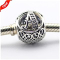 Fits Pandora Bracelets Vintage A Silver Beads with Clear CZ 100% 925 Sterling Silver Charms DIY Jewelry 08LE015-A