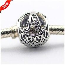 Se adapta a pandora pulseras vintage bolas de plata con clear cz 100% plata de ley 925 encantos de la joyería diy 08le015-a