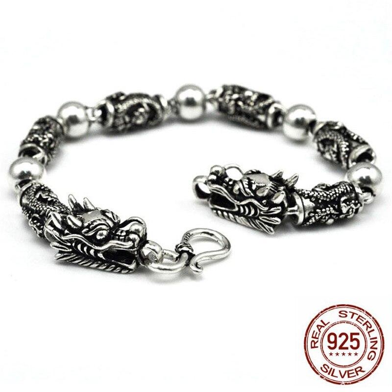 Hommes Bracelets 925 en argent Sterling Vintage Punk Rock Double tête de Dragon Bracelet Fine Thai bijoux en argent meilleur cadeau livraison gratuite