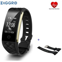 2017 Diggro S2 IP67 Wristband Bracelet Smart Heart Rate Monitor Fitness Tracker Touchpad OLED Strap In