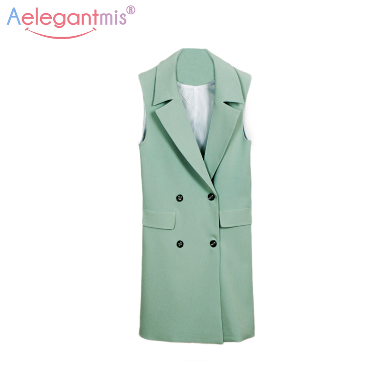Aelegantmis Classic Long Blazer Vest Women Waistcoat Spring Autumn Elegant Office Lady Coat Fashion Pockets Sleeveless Jacket