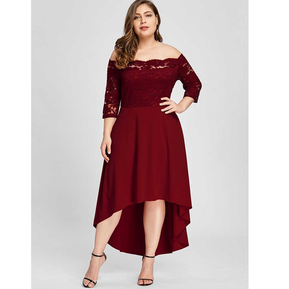 Plus Size 5XL 4XL Women Dress Off Shoulder High Low Lace Dip Hem Partty  Dress New d7a1aba5633d