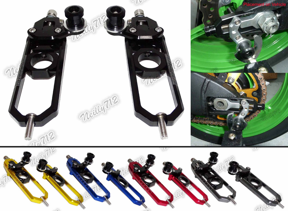 waase CNC Aluminum Left & Right Chain Adjusters with Spool Tensioners Catena For BMW S1000RR 2009 2010 2011 2012 2013 2014 cnc aluminum chain adjusters with spool tensioners catena for kawasaki zx 6r zx6r zx 6r 2009 2010 2011 2012 2013 2014 2015
