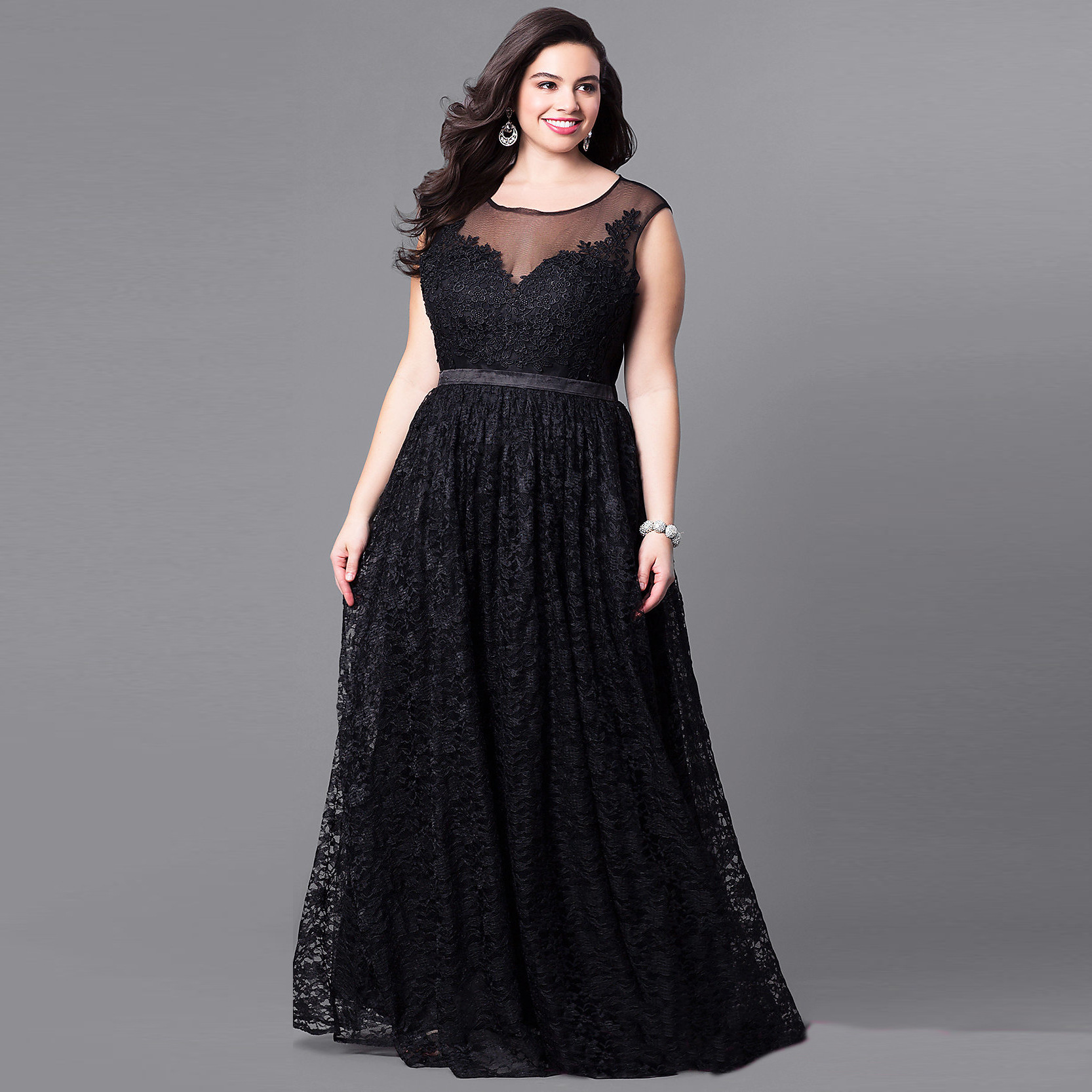 df6a71effc Summer Autumn Plus Size Off Shoulder Lace Maxi Dress Women Sexy Sleeveless  Evening Party Night Club A Line Long Dresses Black-in Dresses from Women s  ...