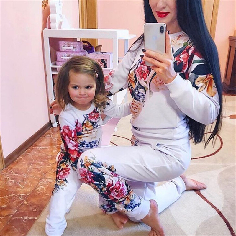 Fashion Mother Daughter Matching Clothes Family Outfits Mom Daughter Clothes Plus Size Women Floral Clothes Kids Clothing Sets 2017 summer children clothing mother and daughter clothes xl xxl lady women infant kids mom girls family matching casual pajamas