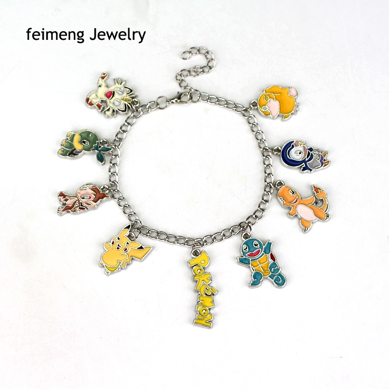 Pikachu Raichu Dragon Pokemon GO Bracelet Team Valor Instinct Mystic Logo Gifts For Men And Women Game Jewelry Free Shipping