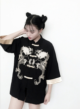 NiceMix Chic Bomber Vintage Chinese style Harajuku Dragon embroidery Jacket Tang suit satin Cardigan Long sleeve loose Coat Butt