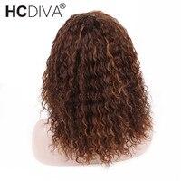 Mix Цвет Кружева Фронтальная парики 4/30 Ombre человеческих волос парики для женщины Реми странный вьющиеся кружева фронтальной парик предварит