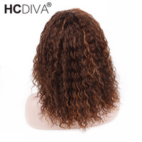 Mix Color Lace Frontal Wigs 4/30 Ombre Human Hair Wigs For Woman Brazilian Remy kinky Curly Lace Frontal Wig Pre Plucked HCDIVA