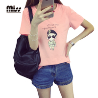 MISS 2016 Descendants Of The Sun Song Joong Ki T Shirt Women Fashion Cartoon Print Short