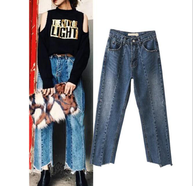 Europe Washed Asymmetry Jeans Trousers Women High Waist Straight Long Pant Denim Jeans Pants
