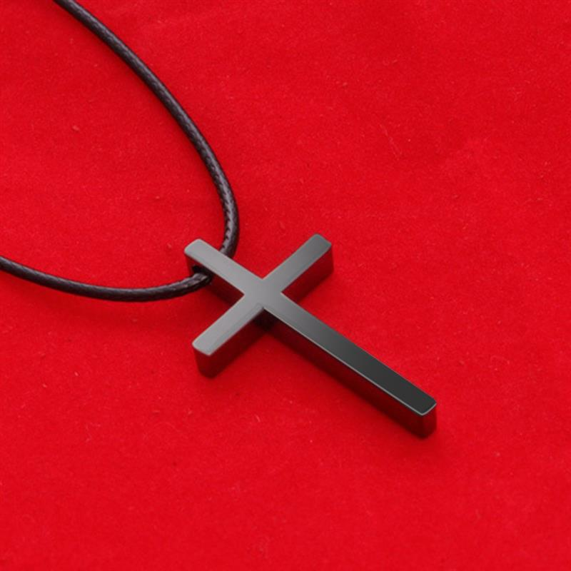 OBSEDE New Simple Cross Pendent Necklace Black Leather Rope Fashion Antique Silver Color Alloy Punk Jewelry For Women Men Gift