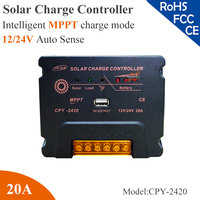 20A 12 24V AUTO Work MPPT Solar Charge Controller Multi Function Compensation Circuit With USB 5V