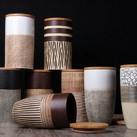 Creative Ceramic Coffee Bean Jar Handmade Storage Bottle Sealed Coffee Bottle Kitchen Jar Sugar Dried Fruit Cereal Storage Tank