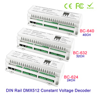New arrival DIN Rail 24CH 32CH 40CH DMX512 Constant Voltage PWM Decoder 3 digital display shows large scale projects Controller