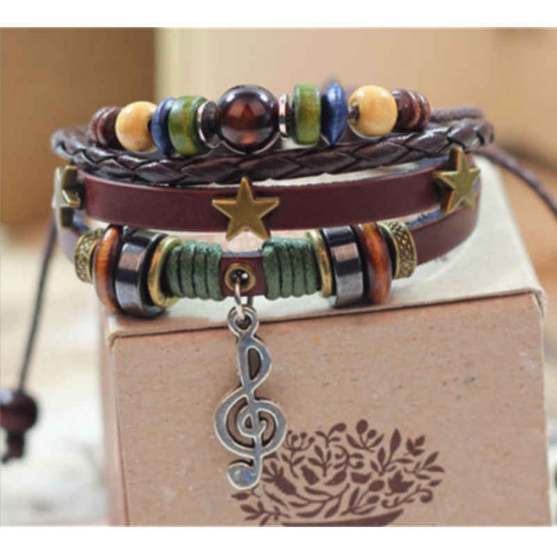 NEW Jewelry Fashion Infinity Brwon Multilayer Leather Charm Bracelet Silver Music Notation Beads Style