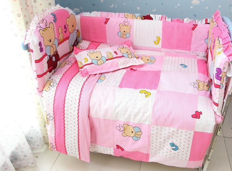 Фото Promotion! 7pcs Pink Bear Baby Girl Bedding Set Crib Set Cotton Bedding Set (bumper+duvet+matress+pillow). Купить в РФ